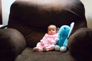 Emma at Two Months next to Elephant