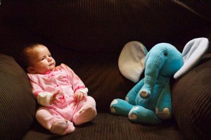 Emma at Two Months with Elephant